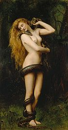 A nude woman in a forest with a snake wrapped around her.