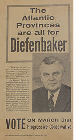 Election poster for Diefenbaker, 1958, showing his picture and urging Atlantic Canada to vote for him.