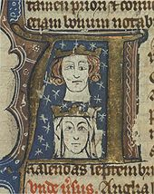 Inside an initial letter are drawn two heads with necks, a male over a female. They are both wearing coronets. The man's left eye is drawn different both from his right and those of the woman.