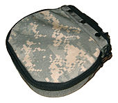 a canvas pouch in universal camouflage pattern with a zipper and metal clip for mounting to the M249.