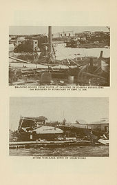 Two black and white images of Okeechobee, Florida immediately following the 1928 hurricane; both pictures show the town in ruins
