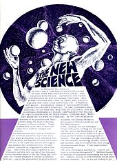 "A scanned newspaper page with a title ""The New Science"" and a futuristic drawing of a man"
