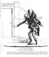 """Cartoon image of an older man riding on the back of another older man and stumbling toward the steps of a building labeled """"Capitol"""""""