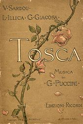 "Front cover decorated by a rose branch that curls from bottom left to top right. The wording reads: ""V Sardou, L Illica, G Giacosa: Tosca. Musica di G Puccini. Editzione Ricordi"""