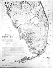 A black and white hand-drawn map of the lower two-thirds of the Florida peninsula