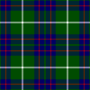 "A swatch of fabric in a plaid or ""tartan"" design.  On a green background appear four squares composed of a broad blue stripe overlaid with a thin red stripe.  Over each square is superimposed two thin white stripes forming a cross."