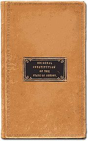 The leather cover of the original Oregon Constitution
