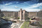 Panorama of a brutalist housing estate