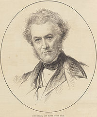 An engraving of a middle-aged man in formal nineteenth-century dress, with sideburns and tousled hair