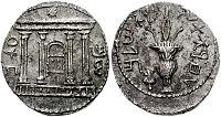 Bar-Kokhba revolt coin using Paleo-Hebrew script, showing on one side a facade of the Temple, the Ark of the Covenant within, star above; and on the other a lulav with etrog.