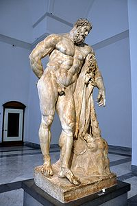 One of the most famous depictions of him originally by Lysippos (Marble, Roman copy called Hercules Farnese, 216 CE)