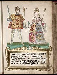 """A picture on a page in an old book. A man at left wears tights and a tunic with a lion rampant design and holds a sword and scepter. A woman at right wears a dress with an heraldic design bordered with ermine and carries a thistle in one hand and a scepter in the other. They stand on a green surface over a legend in Scots that begins """"James the Thrid of Nobil Memorie..."""" (sic) and notes that he """"marrit the King of Denmark's dochter."""""""