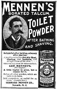 Mennen's Borated Talcum Toilet Powder, 1898.jpg