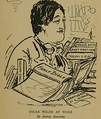 """A caricature of Wilde by Aubrey Beardsley, the caption reads """"Oscar Wilde At Work""""."""
