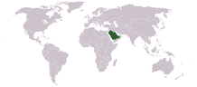 Saudi Arabia's location on a map of the world.