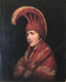 'Man Wearing Feather Cloak and Helmit', oil on canvas painting attributed to Rembrandt Peale.jpg