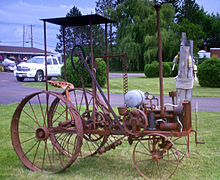 Photograph of an old tractor.