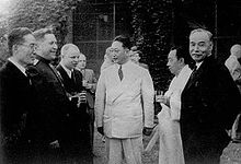 Yeo Woon-Hyung (far right) at the US-Soviet Joint Commission (1947) alt text