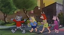 Four cartoon figures of cats dressed in human clothes, walking single file.