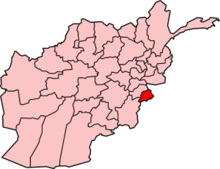 Map of Afghanistan, showing Khost Province on the south-east border
