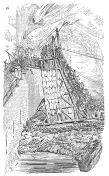 A drawing of a wooden tower leaning against a stone wall. Soldiers are climbing the tower towards fighting on the ramparts.
