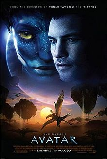"""On the upper half of the poster are the faces of a man and a female blue alien with yellow eyes, with a giant planet and a moon in the background and the text at the top: """"From the director of Terminator 2 and Titanic"""". Below is a dragon-like animal flying across a landscape with floating mountains at sunset; helicopter-like aircraft are seen in the distant background. The title """"James Cameron's Avatar"""", film credits and the release date appear at the bottom."""