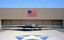 Front view of tailless aircraft parked in front of building. On the building face is a blue and red rectangular flag. In the foreground is a star shape on the ground