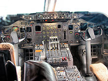 A view of a early-production 747 cockpit
