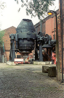 The Bessember Converter located at Kelham Island Museum. The converter is located within an old industrial facility typical of those constructed during the Industrial Revolution.