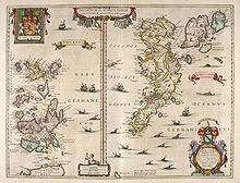 """An old map of two island groups with the """"Orcades"""" at left and """"Schetlandia"""" at right. A coat of arms at top left shows a red lion rampant on a yellow shield flanked by two white unicorns. A second heraldic device is shown at bottom right below the """"Oceanus Germanicus"""". This has two mermaids surrounding a tabula containing very small writing, topped by a yellow and blue shield."""