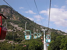 Cableway going up a mountain