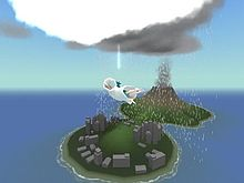 A blue-haired boy in a white robe is in the air over two small, mountainous islands. A white cloud is above him, and a gray, raining cloud is behind it.