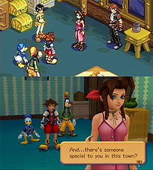 Two images of a game set in a room, the top one with 2D graphics, and the bottom one with 3D ones. Both feature a spike-haired boy wearing red clothes, a black jacket and yellow shoes; an anthropomorphic dog wearing an orange hat, a green turtleneck sweater, yellow pants, white gloves and brown shoes; an anthropomorphic duck wearing blue hat and robes; and a brown-haired girl in a pink dress.