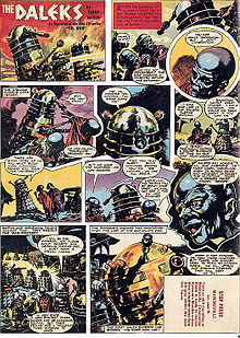 """A comics page with eleven panels. The first panel contains the title """"The Daleks"""" in jagged white letters. Subsequent panels show Dalek cylinders (slightly narrower than those depicted in previous images) and blue-skinned humanoids with bulbous heads. The last panel shows a gold-coloured Dalek-like shape with a large spherical top."""