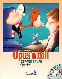 The Bloom County characters Opus the Penguin and Bill the Cat emerging from a CRT computer screen, with the cat kissing a surprised-looking user on the nose