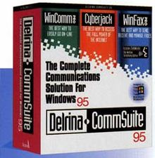 Product box of Delrina CommSuite 95, depicting the products WinComm, Cyberjack and WinFax