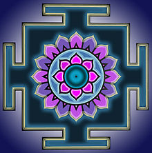 A geometrical diagram with blue circle in the centre, surrounded by 8 pink petals in a concentric circle, which in turn is surrounded by 16 alternate violet and purple petals. This arrangement is in a black square which has T shaped outward extension in the centre on each side. The black figure is bordered by a lighter bluish background.