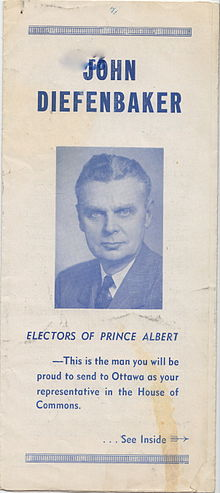 Faded election flyer for Diefenbaker, 1953.