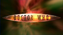 A geometrical symmetric lens shape with the words Doctor Who in all-caps flying trough green and red wormhole effect.