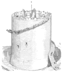 A half finished circular tower with scaffolding near the top. There are holes in the tower and workers on top.