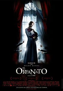 Movie poster illustrating a woman cradling a baby covered in cloth in a dark room in front of a bright window. Five small hands are seen covering the window from the darkness. Text at the bottom of the poster reveals the original Spanish title, production credits and release date.