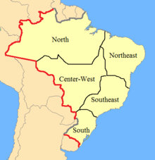 A map showing Brazil in light yellow with thin black lines dividing it into five large regions and a thicker, multicolored line dividing the nation from its neighbors