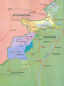 Map showing Afghanistan and Pakistan, highlighting several areas in the north-west of Pakistan, on the border to Afghanistan