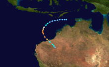 A map of a path across the eastern Indian Ocean near Australia. Most of the country can be seen in the right side of the image. Some of the Indonesian islands are visible at the top