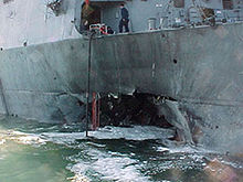 Photo of hole in side of USS Cole