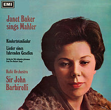 The album cover is dominated by a photograph of Janet Baker with slightly downcast eyes and introspective facial expression.