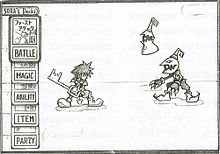 Sketch with a spike-haired boy holding a large key facing two black creatures with shiny eyes. One is humanoid, wears a body suit, clawed gloves, shoes that end in spiral toes and a helmet with a curled tip, which resembles the head of a monster. The other is a floating conical blob wearing a robe with a jagged collar and a conical hat with a curled tip. At the left are icons representing the player's deck.