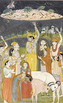 Krishna raising a mountain on a fingertip and providing shelter to his friends, the cowherds, from a thunderstorm.