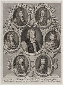 Black and white depiction of six small portraits arrayed in a circle around a larger portrait