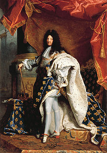Portrait of a man, standing, wearing an ermine robed faced with fleur-de-lis
